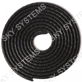 Круглый шнур из кожи питона 5 мм   Черный