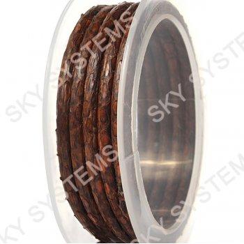 Круглый шнур из кожи питона 5 мм | Коричневый с черным