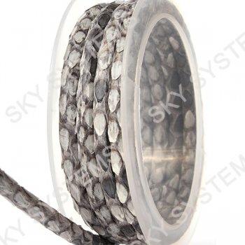 Круглый шнур из кожи питона 4 мм | Серый с белым
