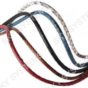 Круглый шнур из кожи питона 5 мм | Красный с черным