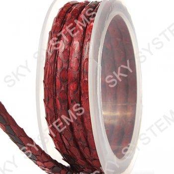 Круглый шнур из кожи питона 5 мм   Красный с черным