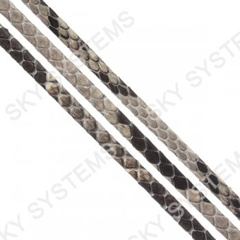 Плоский шнур из кожи питона 5х2 мм | Серый с белым
