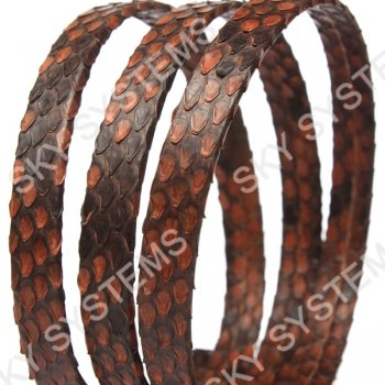 Плоский шнур из кожи питона 10х2 мм | Коричневый с черным
