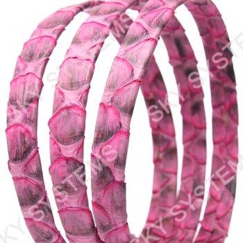 Плоский шнур из кожи питона 10х2 мм | Розовый