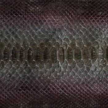 Натуральная кожа питона, спинной разрез, цвет: зеленый, черный.