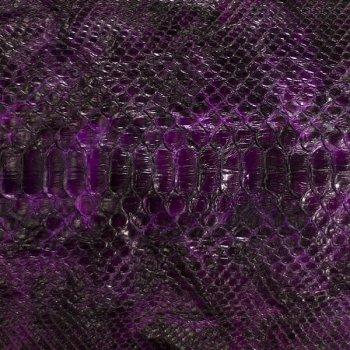 Натуральная кожа питона, спинной разрез, цвет: фиолетовый, черный.