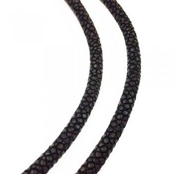 6.0 мм Шнур из кожи ската 43-45 см | Цвет: Черный