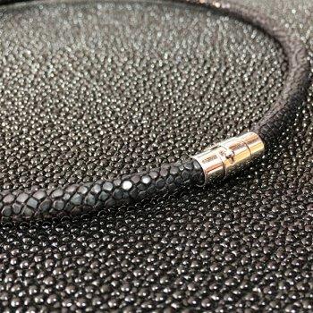 4.0 мм Шнур из кожи ската 43-45 см | Цвет: Черный
