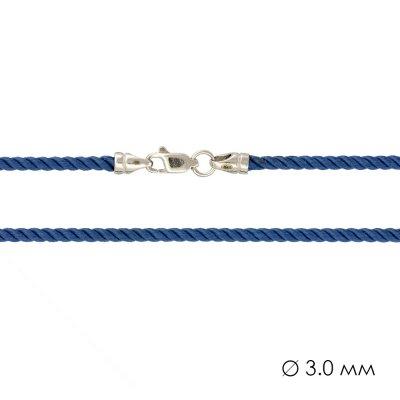 Крученый Шелковый шнурок с гладкой серебряной застежкой (3мм)