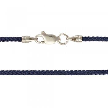 Плетеный Шелковый шнурок с гладкой серебряной застежкой (2мм)