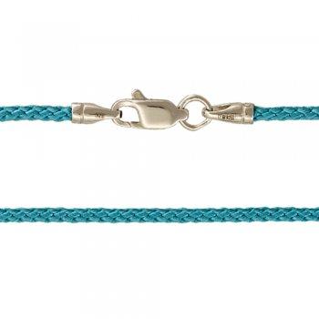 Плетеный шелковый шнурок  голубой  с серебряной гладкой застежкой (2мм)