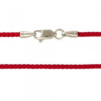Плетеный Шелковый шнурок красный с серебряной гладкой застежкой (2мм)