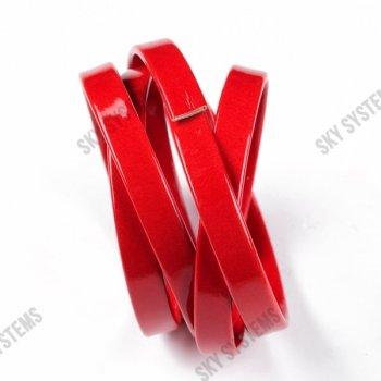 Плоский шнур искусственной кожи 10 х 2 мм | Цвет: Красный глянцевый