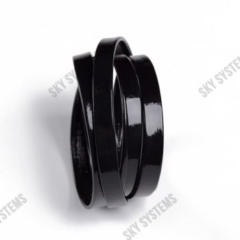 Плоский шнур искусственной кожи 10 х 2 мм | Цвет: Черный глянцевый