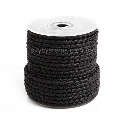 3.0 мм Шнур плетеный из искусственной кожи | Цвет: Черный матовый