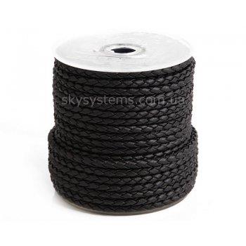 Шнур плетеный из искусственной кожи (кожзам)   3.0 мм, Цвет: Черный матовый