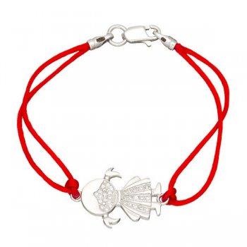 Шелковый браслет Девочка с серебряной застежкой