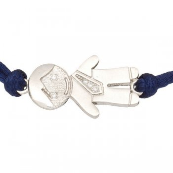 Шелковый браслет Мальчик с серебряной застежкой
