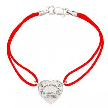 Шелковый браслет Сердце с серебряной застежкой