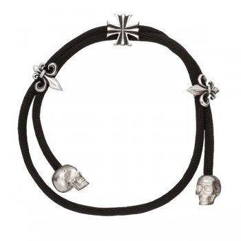 Шелковый браслет Лилия черный с серебряной застежкой