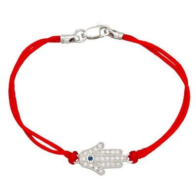 Шелковый браслет Хамса с камнями и с серебряной застежкой