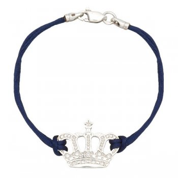 Шелковый браслет Корона с серебряной застежкой