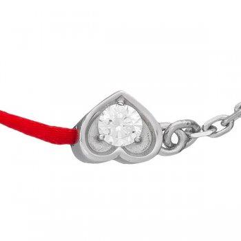 Шелковый браслет Сердце шелк с серебряной застежкой