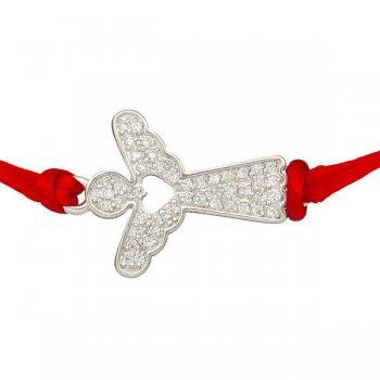 Шелковый браслет Ангел с серебряной застежкой