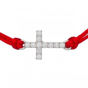 Шелковый браслет Крест красный с серебряной застежкой