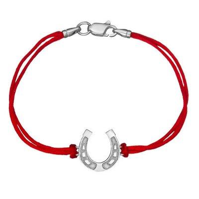 Шелковый браслет Подкова с серебряной застежкой