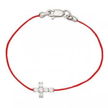 Шелковый браслет Крест с камнями и с серебряной застежкой
