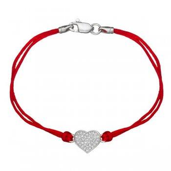 Шелковый браслет Сердце с камнями и с серебряной застежкой
