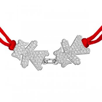 Шелковый браслет Две девочки с серебряной застежкой