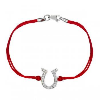 Шелковый браслет Подкова с камнями и с серебряной застежкой
