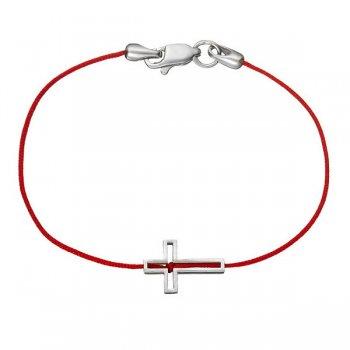 Шелковый браслет Крест шелк с серебряной застежкой
