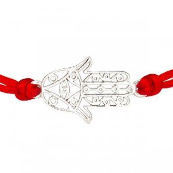 Шелковый браслет Хамса с серебряной застежкой
