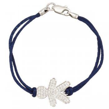 Шелковый браслет Мальчик с камнями и с серебряной застежкой