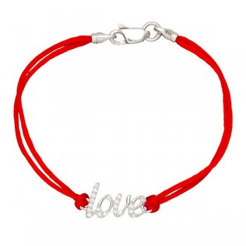 Шелковый браслет Love с камнями и с серебряной застежкой