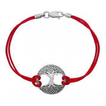 Шелковый браслет Дерево жизни с серебряной застежкой