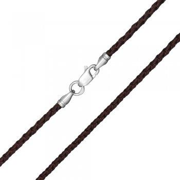 Шелковый шнурок Милан 2016 с серебром | Цвет: Коричневый (2,5 мм)
