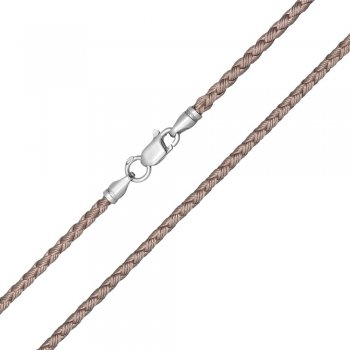 Шелковый шнурок Милан 2016 с серебром | Цвет: Бежевый (2,5 мм)