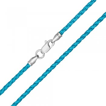 Шелковый шнурок Милан 2016 с серебром | Цвет: Бирюза (2,5 мм)