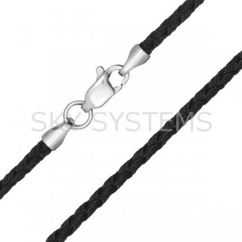 Шелковый шнурок Милан 2016 с серебром | Цвет: Черный (3,0 мм)