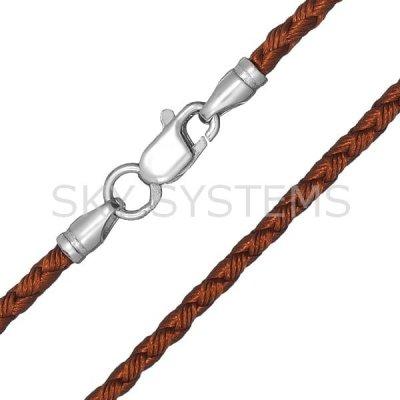 Шелковый шнурок Милан 2016 с серебром | Коричневый (3,0 мм)