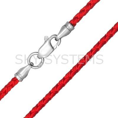 Шелковый шнурок Милан 2016 с серебром | Красный (3,0 мм)