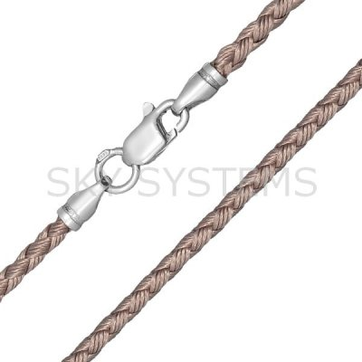 Шелковый шнурок Милан 2016 с серебром | Бежевый (3,0 мм)