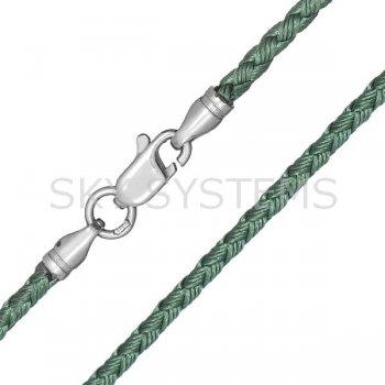 Шелковый шнурок Милан 2016 с серебром | Цвет: Зеленый (2,5 мм)