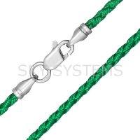 Шелковый шнурок Милан 2016 с серебром | Зеленый (3,0 мм)