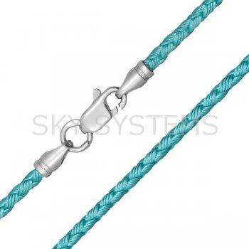 Шелковый шнурок Милан 2016 с серебром | Цвет: Бирюзовый (2,5 мм)