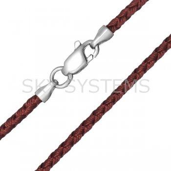 Шелковый шнурок Милан 2016 с серебром   Цвет: Коричневый (2,5 мм)